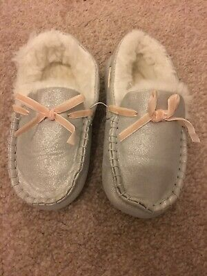 The Little White Company Girls Silver Slippers Size 10-11