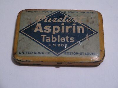 Vintage Puretest Aspirin Tablets Metal Tin 24 Tablets