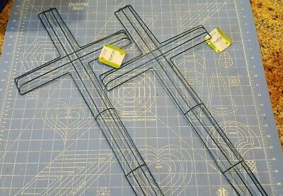 """Lot 2 Cross shape metal wire wreath frame form floral craft decor 12""""x24"""" NWT"""