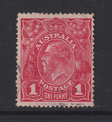 AUSTRALIA 1914: 1d red KGV variety RA joined · BW 71(4)j · very lightly used
