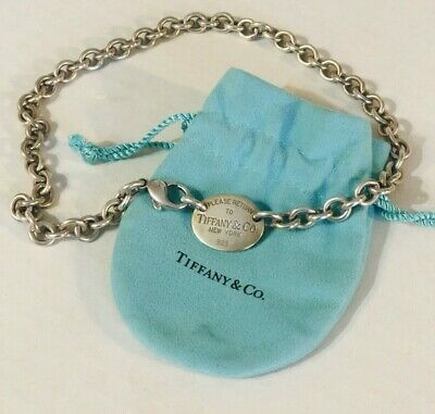 """Tiffany & Co Please Return To Tiffany Oval  Necklace Stamped 925 15"""" Silver"""