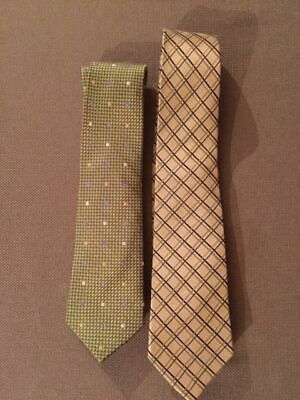 Talbot's Kids Ties Set of 2 Silk Green w/white, gold, blue and Tan w/blue, green