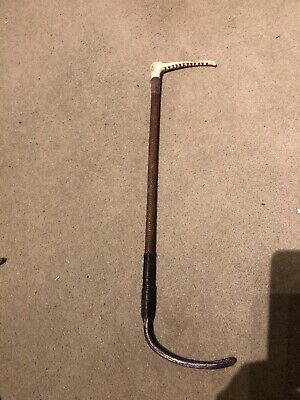 VINTAGE HUNTING WHIP SILVER COLLAR , new leather lash end