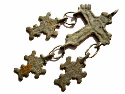 Extremely Rare Post Byzantine, Medieval Period Bronze Cross Pendant Set!!!