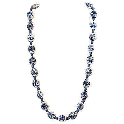 """Handcrafted Chinese Export Blue/ White Porcelain Beads 22"""" Necklace Silver Clasp"""