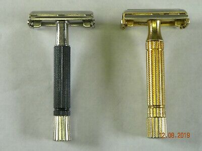 Gillette Diplomat Gold Safety Razor & Black Beauty Speed Razor Vintage Lot