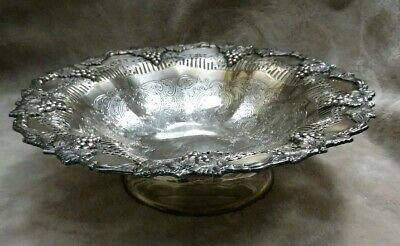 HADDON PLATE SHEFFIELD REPRODUCTION Silver Plated Grape Design Raised Bowl