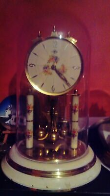 Vintage torsion anniversary 400 day wind-up mechanical  clock under dome 30cm