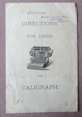 1881 Directions For Using The Caligraph Booklet American Writing Co Typewriter