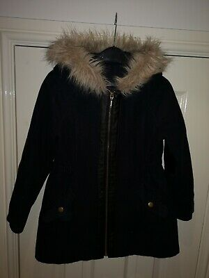 Girls Navy Blue Hooded Coat 6 - 7yrs