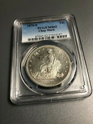1876 S Trade Silver Dollar, High Grade Details, Chop Marks, Scarce Type Coin T$1