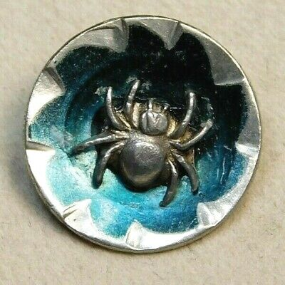 Antique BUTTON Tiny Pewter SPIDER on a Green Tinted Steel Cup NICE!  C