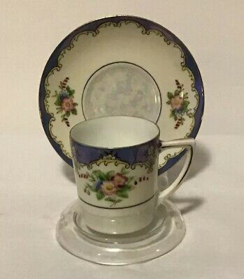 """Noritake """"M""""Pink Wreath Hand Painted Floral Demitasse Cup & Saucer Luster"""
