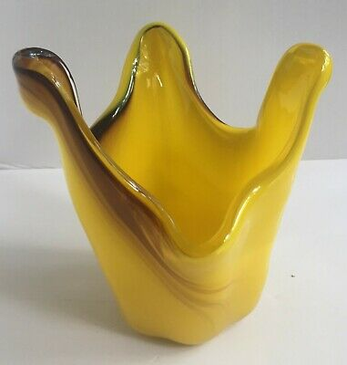 Vintage Bohemian / Art Deco Glass Dish Bowl / Yellow and Brown 5.5""