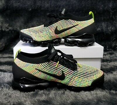 Nike Air Vapormax Flyknit 3 Black/Volt Blue Size 10 - New In Box