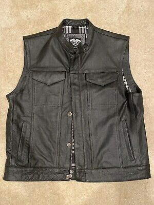 Highway 21 Vest Black Leather Size L