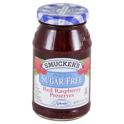 Lot 6 Jars Smucker's Sugar Free Raspberry Preserve, 12.75 oz Each