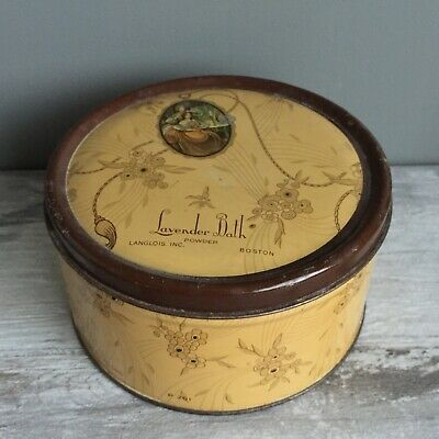 Vintage Langlois Lavender Bath EMPTY Metal Tin Art Deco Dusting Powder Box