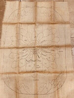 VTG Primitive Rug Hooking Pattern on Burlap Frederick Herrschner Co. BIG FLOWER