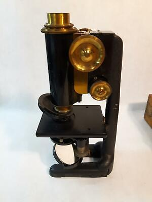 Antique Brass 1915 Bausch and Lomb Microscope in Original Wood Case