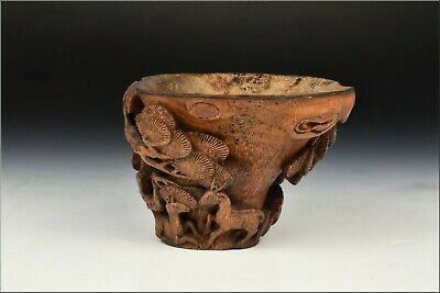 Antique Chinese Carved Bamboo Libation Cup Deer & Trees 17th / 18th Century