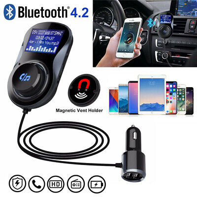 Auto Hands Free Bluetooth Wireless Car Audio Receiver FM Transmitter USB Charger