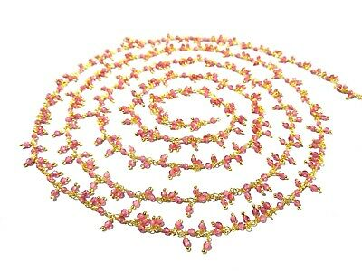 3 Ft Strawberry Quartz Rondelle 2mm Beads Cluster Rosary Beaded Chain Gold Wire