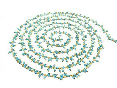 3 Ft Swiss Blue Quartz Rondelle 2mm Beads Cluster Rosary Beaded Chain Gold Wire
