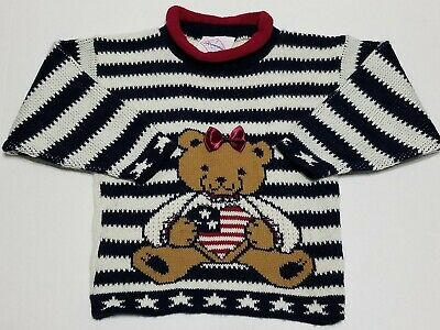 Vintage Papperoni Pepperoni L/S Pullover Knit Sweater Patriotic Bear Flag USA 3t