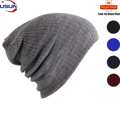 Men Ladies Women Knitted Winter Cap Warm Ski Slouch Oversized Beanie Hat Unisex
