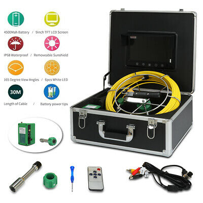 "9"" LCD 30M Sewer Waterproof Camera Pipe Pipeline Drain Inspection System"