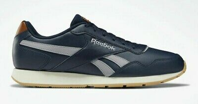 Reebok LEATHER Royal Glide Navy Blue Grey Brown Classic Men's Trainers Ortholite