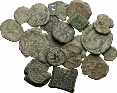 lot of byzantine bula bolla bulla lead , medieval tessera and roman weights.
