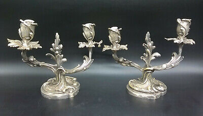 Pair Of Candleholders, Rococo Style, Era 19Th - Silver Bronze - French Antique