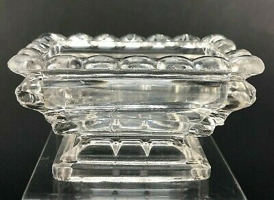 Antique Master Open Salt Cellar Footed Dip Rectangle Dish GLASS VTG Chipped