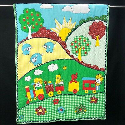 """VINTAGE Blanket Quilt THAT'S OUR BABY 40"""" GREEN YELLOW RED BLUE GINGHAM Quilted"""