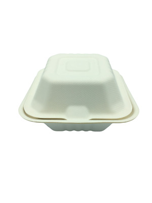 """Biodegradable & Compostable Takeaway Food Container Sugarcane Burger Box 6x6"""""""