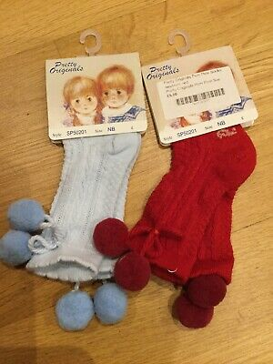 Bundle Of Girls Newborn Pompom Socks Pretty Originals NB Blue Red 2 Pairs BNWT