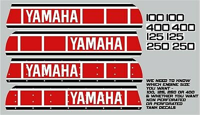 Yamaha Yz 100 125 250 400 Tank & Side Panel Decals 1977 - 1980