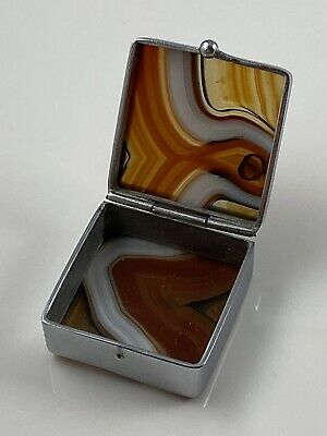 Vintage 1930s Agate Silver Plated Pill Box Excellent Condition