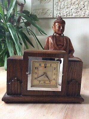 Vintage Wooden Squared Deco Mantle Clock Antique Smiths