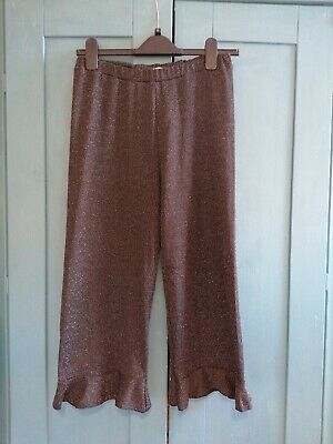 Zara Girls Black Sparkly Cropped Flared Pants Trousers Party Christmas Age 13-14