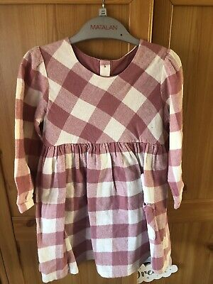 Matalan girls Pink Checked dress 2-3 years Rabbit In The Pocket! Bnwt