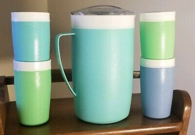 Vintage Bolero Therm O Ware Pitcher And 4 Tumblers