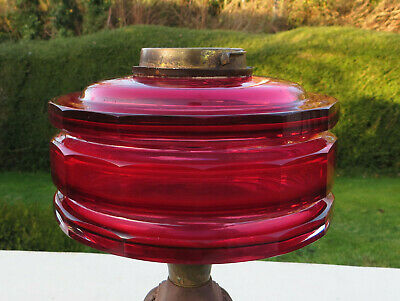 Ruby Red/Cranberry Triple Faceted Cut Glass Oil Lamp Font / Fount Bayonet Collar