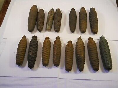 LOT OF 15 VINTAGE GERMAN CUCKOO CLOCK WEIGHTS PARTS REPAIR 40 pounds of weights