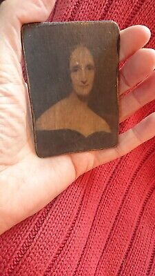 Vintage picture miniature  on wood wooden panel antique MARY SHELLEY