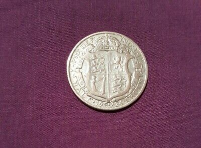 1924 King George V Silver Half Crown Coin, cleaned