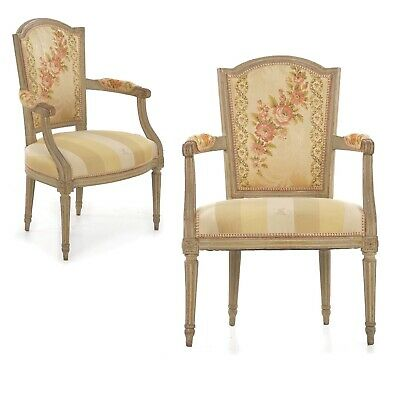 Pair of French Louis XVI Carved Beechwood Antique Fauteuils Arm Chairs, 19th C