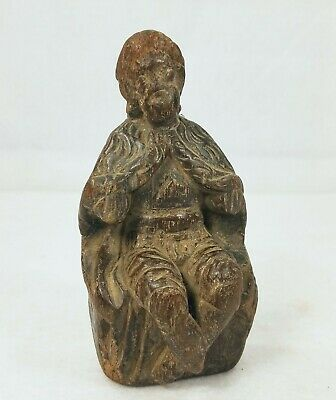 Early Antique Santos Jesus Hand Carved Wood 18th Century or earlier
